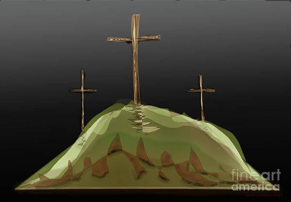Digital Art - The Crosses Of Calvery by James Fannin