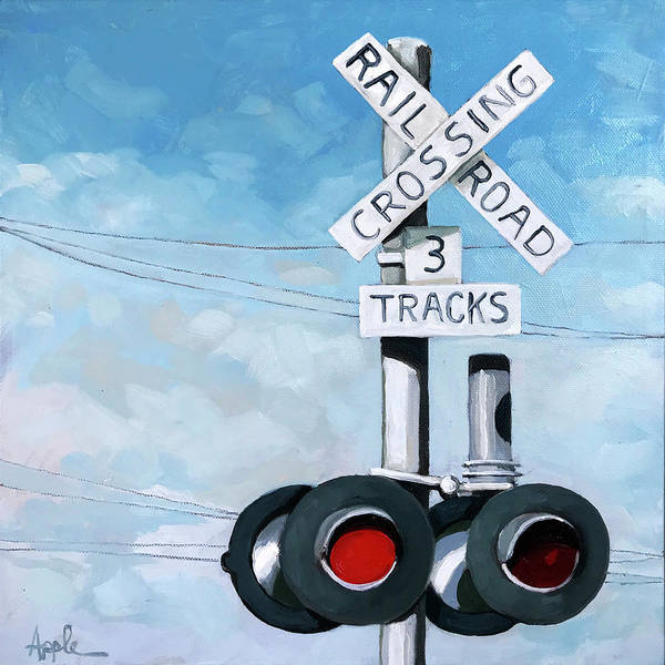 Wall Art - Painting - The Crossing - Train Signals by Linda Apple