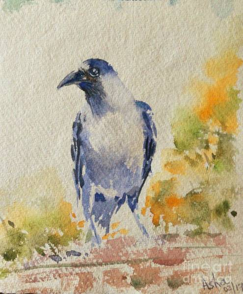 Painting - The Crow In Spring by Asha Sudhaker Shenoy