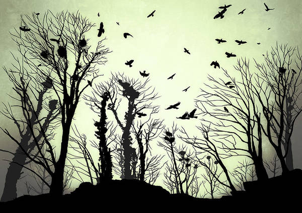 Roost Painting - The Crows Roost - Evening Shades by Philip Openshaw