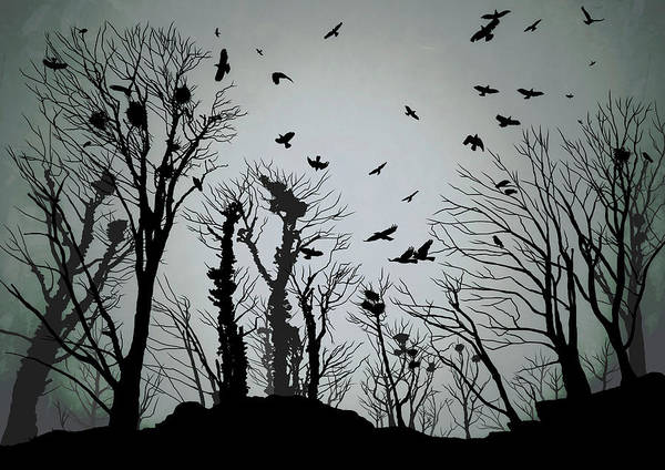 Roost Painting - The Crows Roost - Twilight Blue by Philip Openshaw