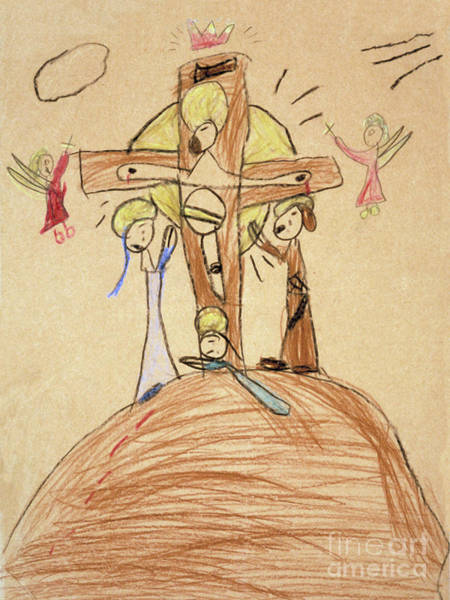 Drawing - The Crucifixion By Fr. Bill At Age 5 by William Hart McNichols