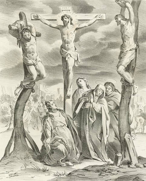 Madonna Drawing - The Crucifixion by Hendrik van the Elder Balen