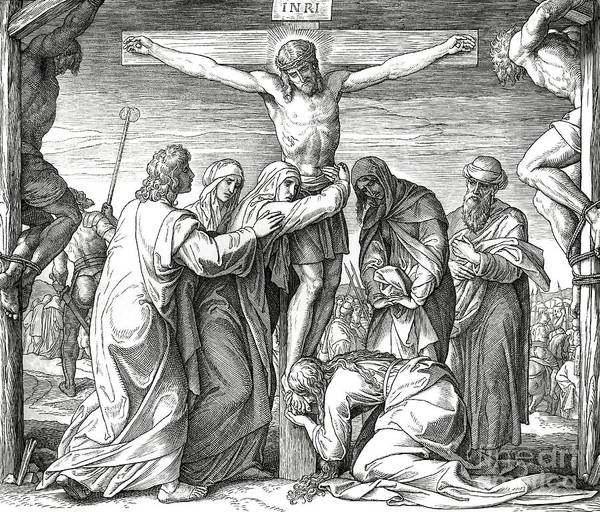 Christ Drawing - The Crucifixion Of Jesus On The Cross, Gospel Of John by Julius Schnorr von Carolsfeld