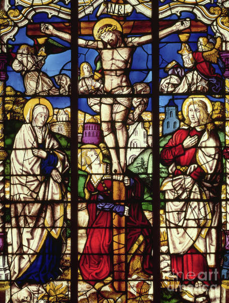 Wall Art - Glass Art - The Crucifixion, Stained Glass Window by Master of the Holy Kindred