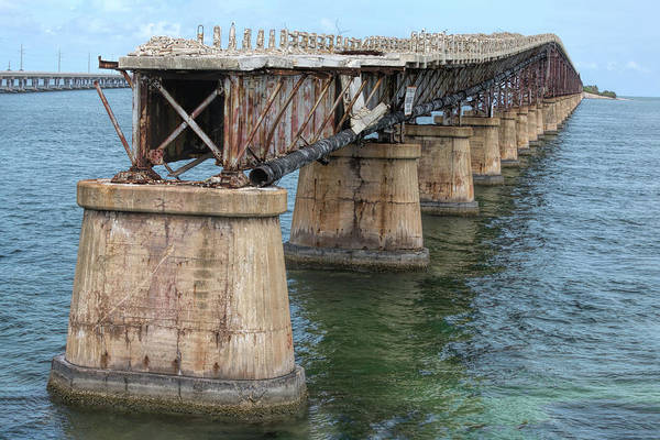 Photograph - Remains Of An Overseas Railroad Bridge In The Florida Keys by John M Bailey