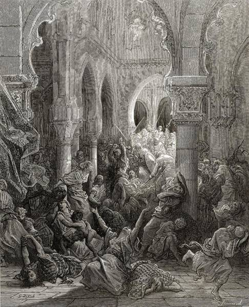 Wall Art - Drawing - The Crusaders Massacre The Inhabitants by Vintage Design Pics