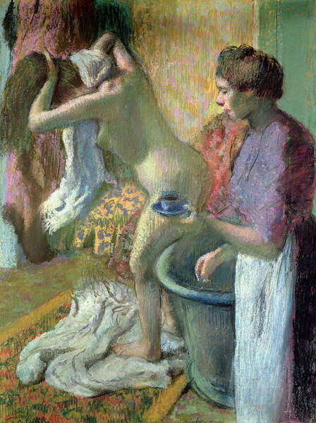 After The Bath Drawing - The Cup Of Tea. Breakfast After Bathing by Edgar Degas
