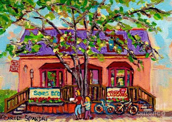 Novelties Painting - The Cupcake Store Monmtreal Bakeries Original City Scene Painting Canadian Art Carole Spandau by Carole Spandau