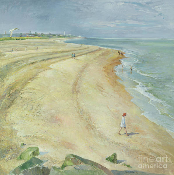 Wall Art - Painting - The Curving Beach, Southwold by Timothy Easton