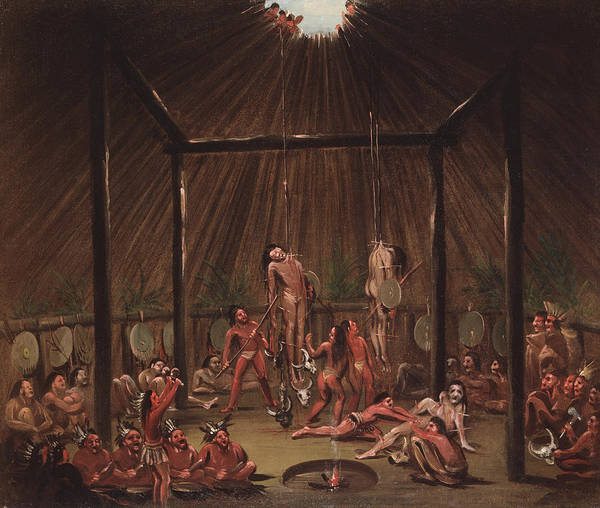 Painting - The Cutting Scene, Mandan O-kee-pa Ceremony by George Catlin
