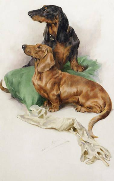 Bone Painting - The Dachshunds by Arthur Wardle