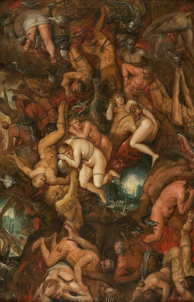 16th Century Wall Art - Painting - The Damned Being Cast Into Hell by Frans Francken the Younger