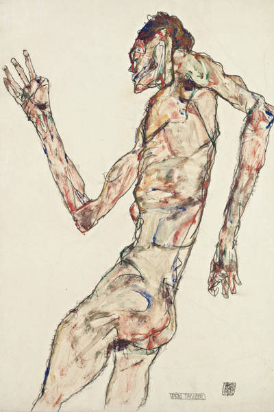 20th Century Man Drawing - The Dancer by Egon Schiele