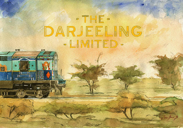 Film Poster Wall Art - Painting - The Darjeeling Limited Poster Film Wes Anderson by Juan  Bosco