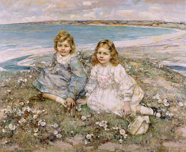 Crossed Legs Painting - The Daughters Of Bertram Roberts by Edward Atkinson Hornel
