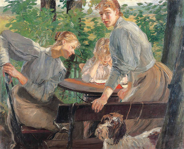 Wall Art - Painting - The Daughters Of The Artist In The Garden by Fritz von Uhde