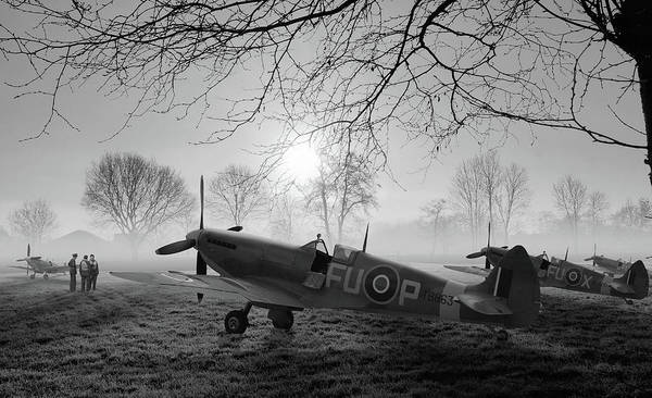 Royal Air Force Digital Art - The Day Begins - Bw by Mark Donoghue