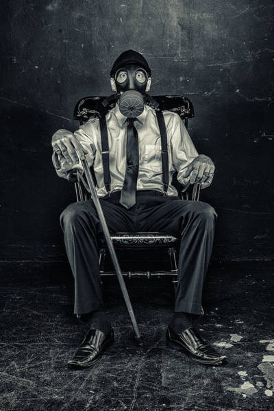 Gasmask Photograph - The Days Are Ending by CJ Schmit