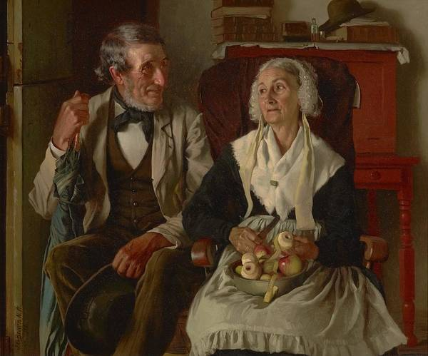 Rural Life Wall Art - Painting - The Deacon's Visit by John George Brown