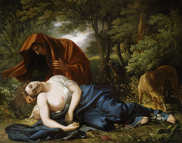 Ancient Woodland Painting - The Death Of Procris by Benjamin West