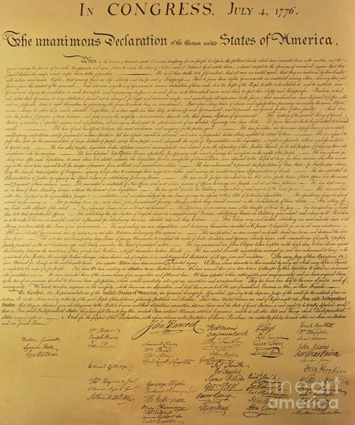 Text Wall Art - Painting - The Declaration Of Independence by Founding Fathers