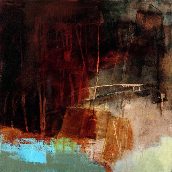 Acrylic Collage Painting - The Deep End #3 by Jane Davies