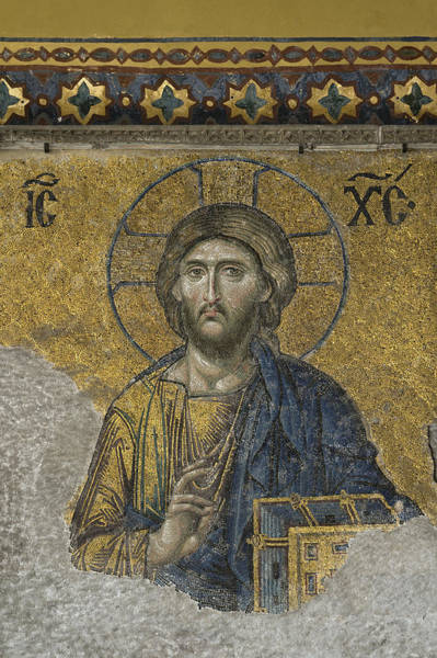 Pantocrator Photograph - The Dees Mosaic In Hagia Sophia by Ayhan Altun