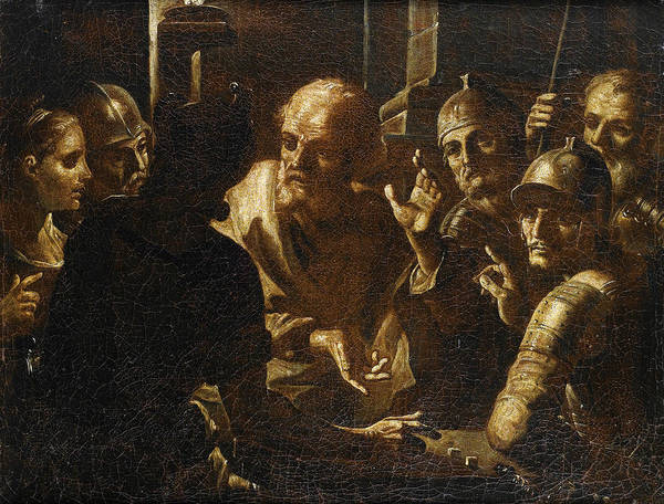 Denial Painting - The Denial Of Peter by Attributed to Giovanni Gioseffo dal Sole