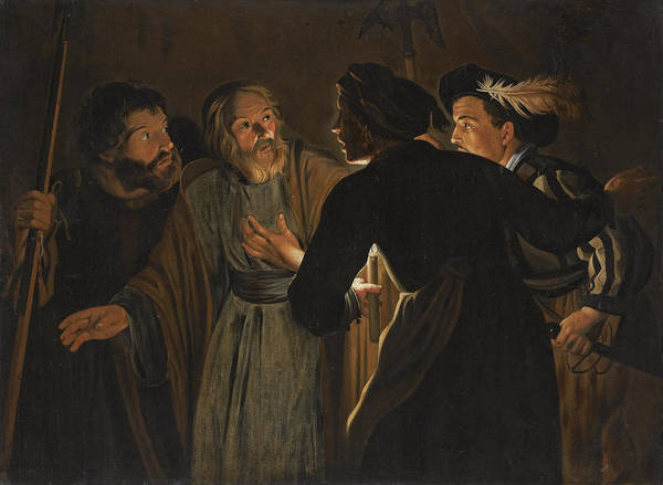 Denial Painting - The Denial Of Saint Peter by Follower of Gerard Seghers