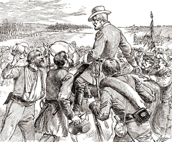 Confederate Soldier Drawing - The Departure Of General Robert E Lee From His Soldiers Prior To His Surrender To Grant by American School