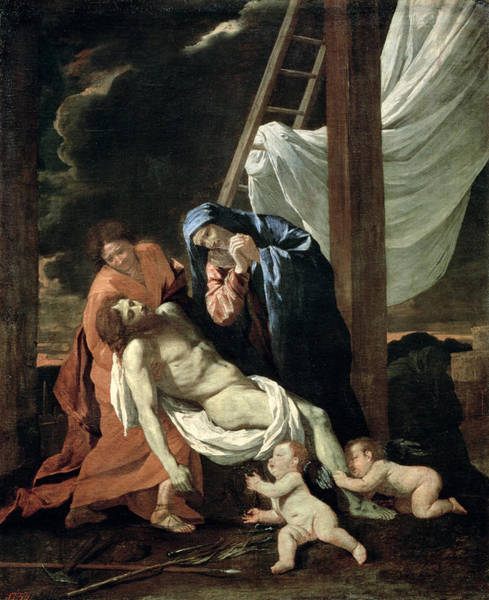 1665 Wall Art - Painting - The Deposition by Nicolas Poussin
