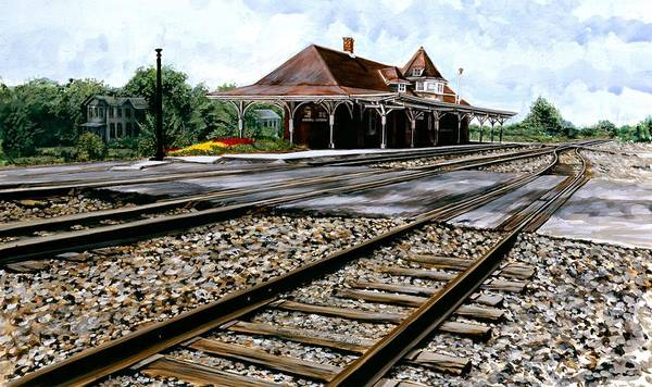 Train Station Painting - The Depot by Roger W Price