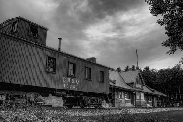 Photograph - The Depot Under Cloudy Skies Black And White by Dale Kauzlaric