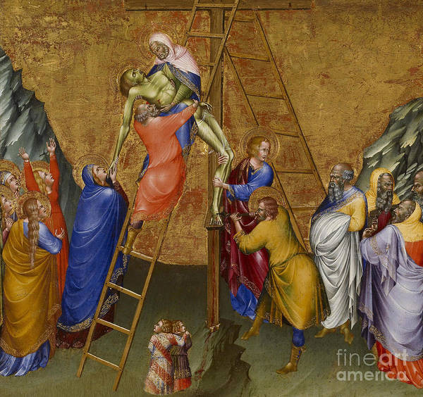 Church Of The Cross Painting - The Descent From The Cross, From The Malavolti Altarpiece by Giovanni di Paolo di Grazia