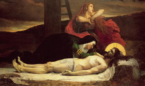 Mourning Painting - The Descent Of Christ From The Cross  by Jean Joseph Weerts