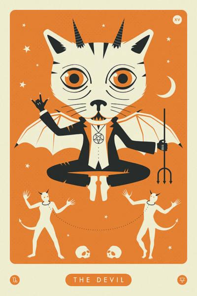 Occult Wall Art - Digital Art - The Devil Tarot Card Cat by Jazzberry Blue