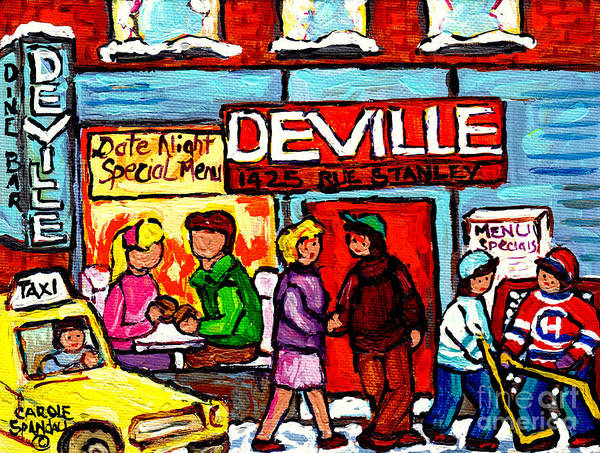 Painting - The Deville Diner Bar Montreal Food Paintings Hockey Scenes Canadian Art Carole Spandau by Carole Spandau