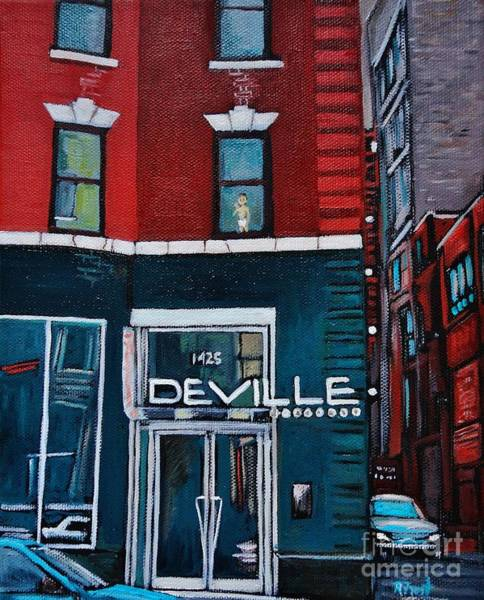 Montreal Street Scene Wall Art - Painting - The Deville by Reb Frost