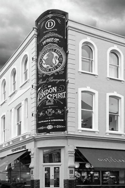 Photograph - The Distillery Portobello Road London Spirit Gin House In Black And White by Gill Billington