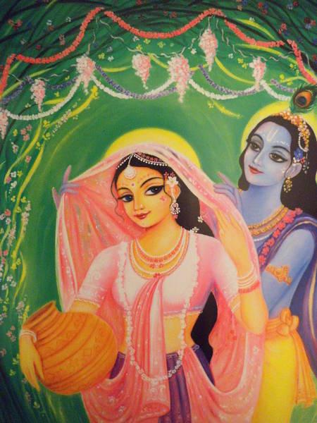 Wall Art - Painting - The Divine Couple - Radha And Krishna by Alexandra Bilbija