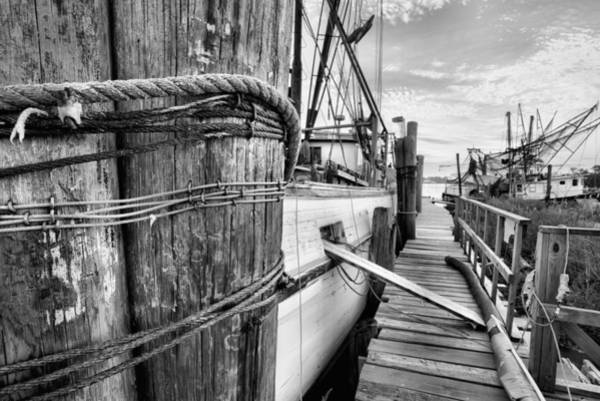 Photograph - The Docks Of Bon Secour Black And White by JC Findley