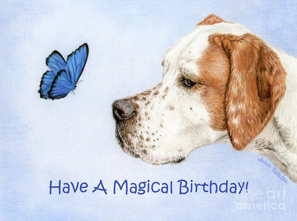 Wall Art - Painting - The Dog And The Butterfly- Birthday Cards by Sarah Batalka