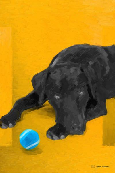 Digital Art - The Dog Park - Black Labrador Retriever Over Yellow Canvas by Serge Averbukh