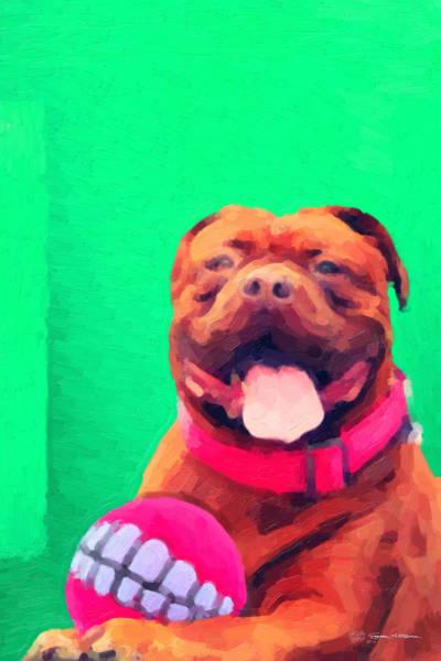 Wall Art - Digital Art - The Dog Park - Fawn Bordeaux Mastiff Over Green Canvas by Serge Averbukh