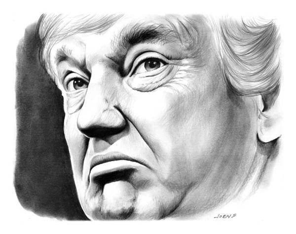 Pencil Drawing - The Donald by Greg Joens