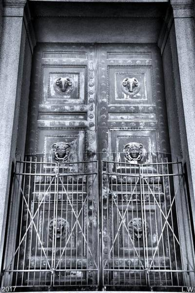 Photograph - The Door At The Parthenon In Nashville Tennessee Black And White by Lisa Wooten