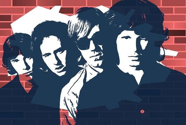 Classic Rock Mixed Media - The Doors Graffiti Tribute by Dan Sproul
