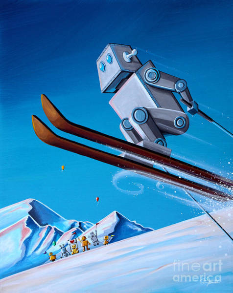 Skiing Painting - The Downhill Race by Cindy Thornton