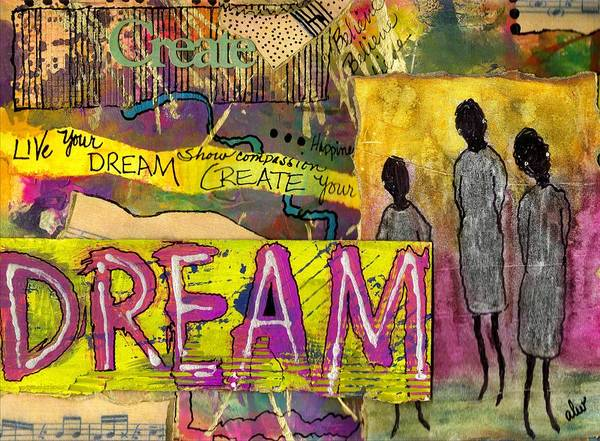 Wall Art - Mixed Media - The Dream Trio by Angela L Walker